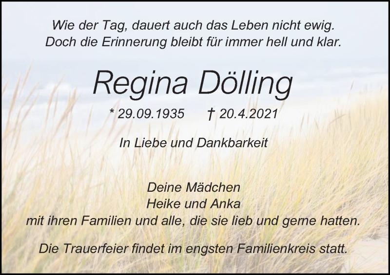 Traueranzeige für Regina Dölling vom 24.04.2021 aus Ostsee-Zeitung GmbH