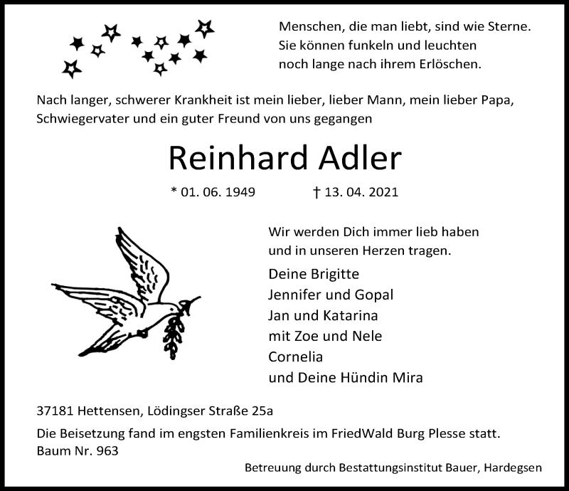Traueranzeige für Reinhard Adler vom 30.04.2021 aus Göttinger Tageblatt