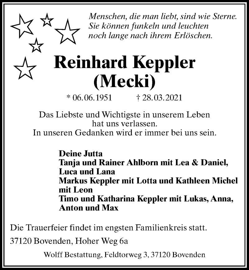 Traueranzeige für Reinhard Keppler vom 03.04.2021 aus Göttinger Tageblatt
