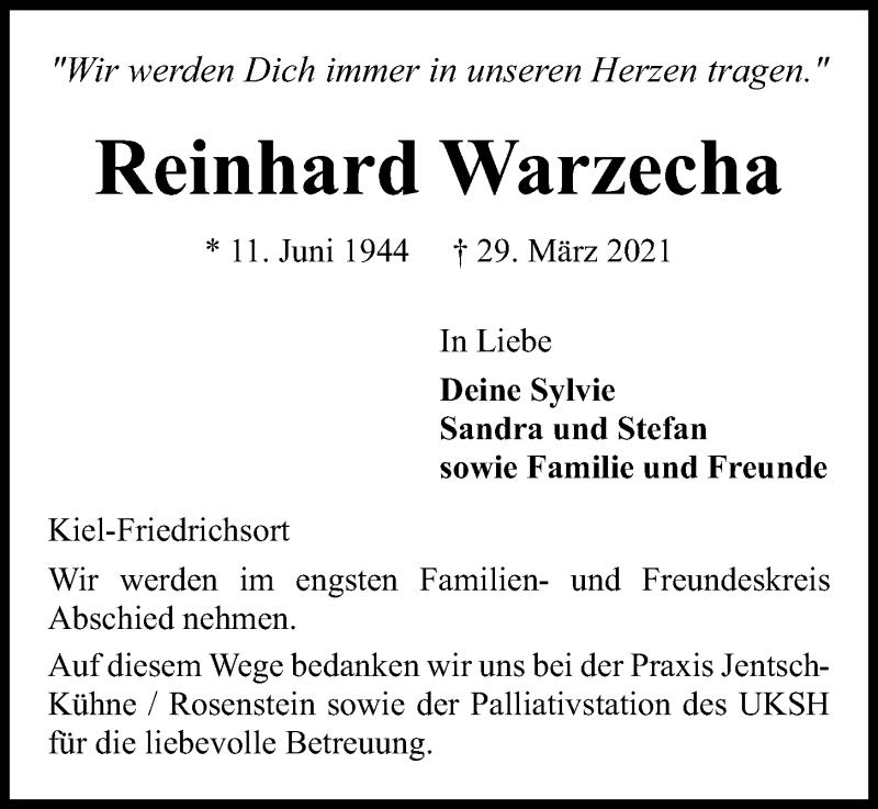 Traueranzeige für Reinhard Warzecha vom 03.04.2021 aus Kieler Nachrichten