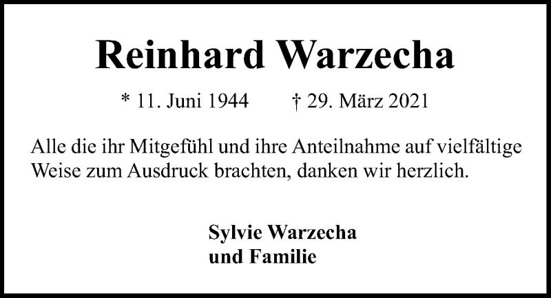 Traueranzeige für Reinhard Warzecha vom 17.04.2021 aus Kieler Nachrichten