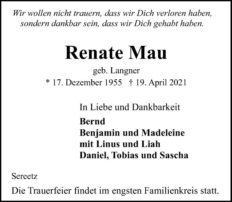 Traueranzeige für Renate Mau vom 24.04.2021 aus Lübecker Nachrichten