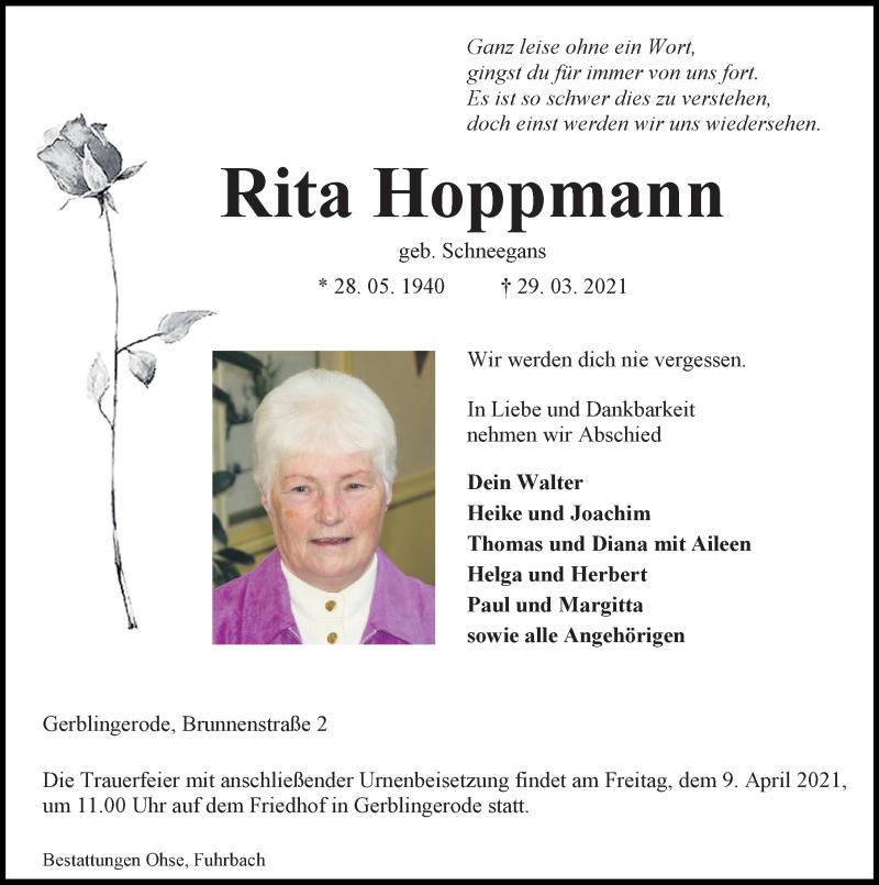 Traueranzeige für Rita Hoppmann vom 03.04.2021 aus Eichsfelder Tageblatt
