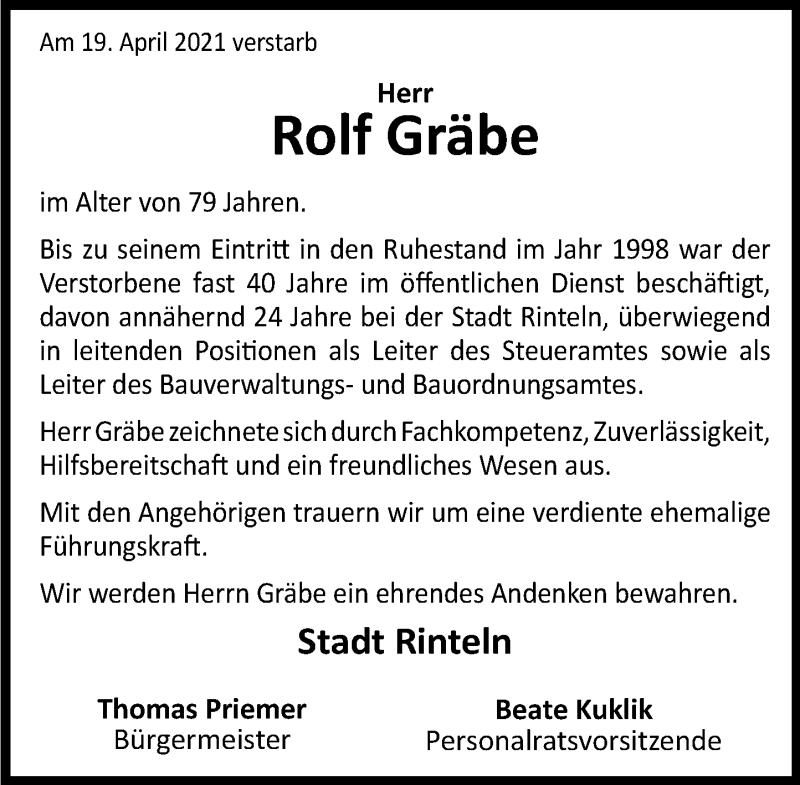 Traueranzeige für Rolf Gräbe vom 24.04.2021 aus Schaumburger Nachrichten