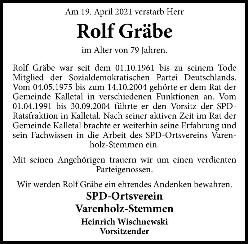Traueranzeige für Rolf Gräbe vom 30.04.2021 aus Schaumburger Nachrichten