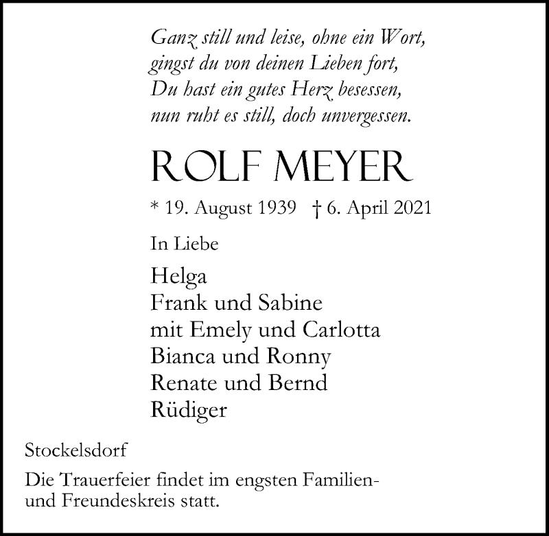 Traueranzeige von  Rolf Meyer