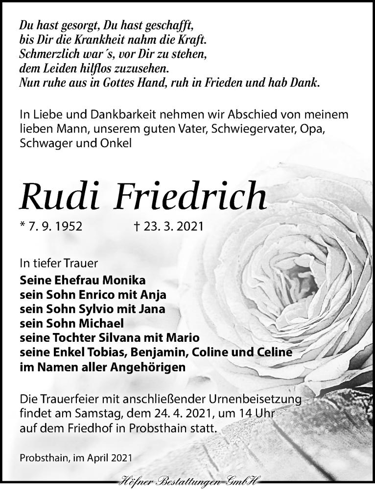 Traueranzeige für Rudi Friedrich vom 03.04.2021 aus Torgauer Zeitung