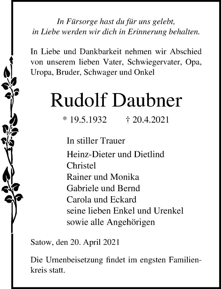 Traueranzeige für Rudolf Daubner vom 24.04.2021 aus Ostsee-Zeitung GmbH