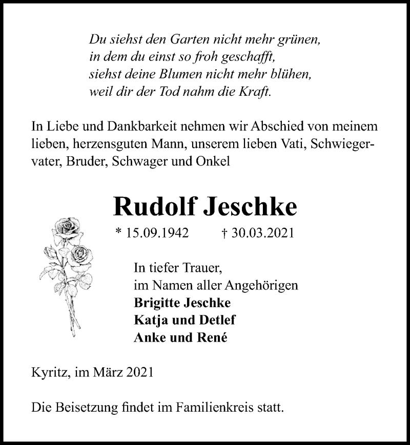 Traueranzeige für Rudolf Jeschke vom 03.04.2021 aus Märkischen Allgemeine Zeitung
