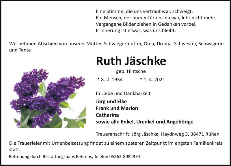 Traueranzeige für Ruth Jäschke vom 07.04.2021 aus Aller Zeitung