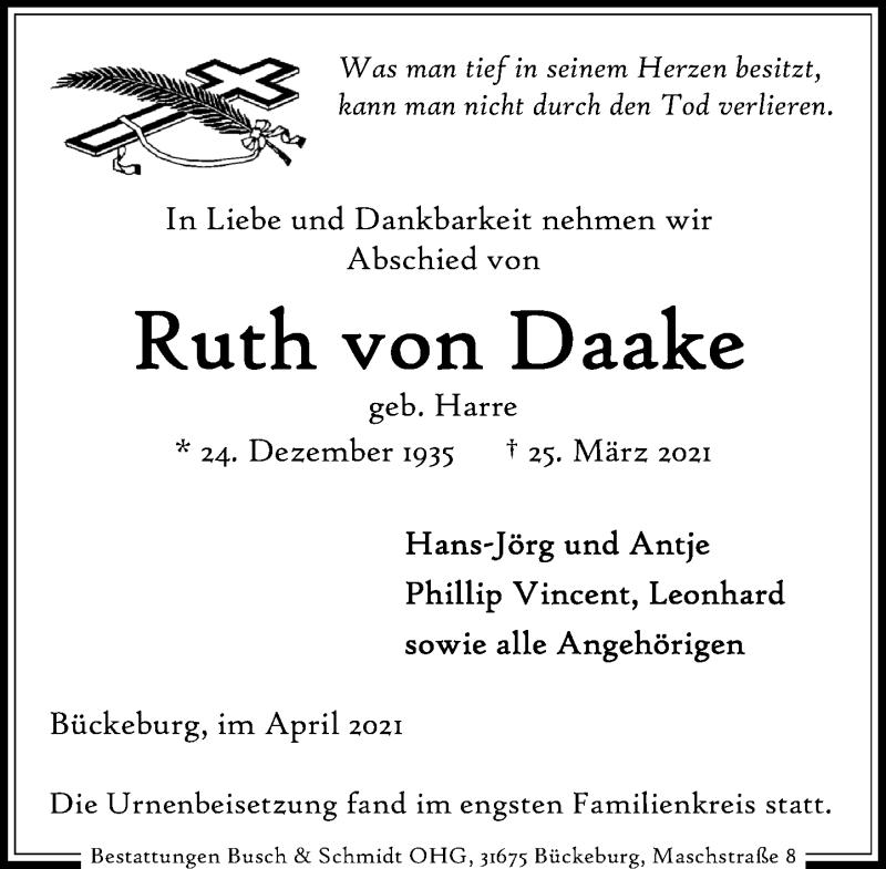 Traueranzeige für Ruth von Daake vom 03.04.2021 aus Schaumburger Nachrichten