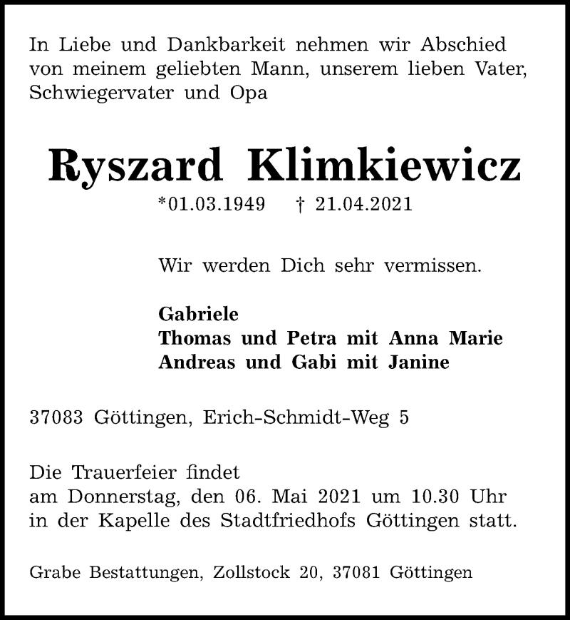 Traueranzeige für Ryszard Klimkiewicz vom 30.04.2021 aus Göttinger Tageblatt