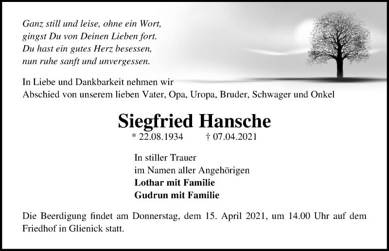 Traueranzeige von  Siegfried Hansche