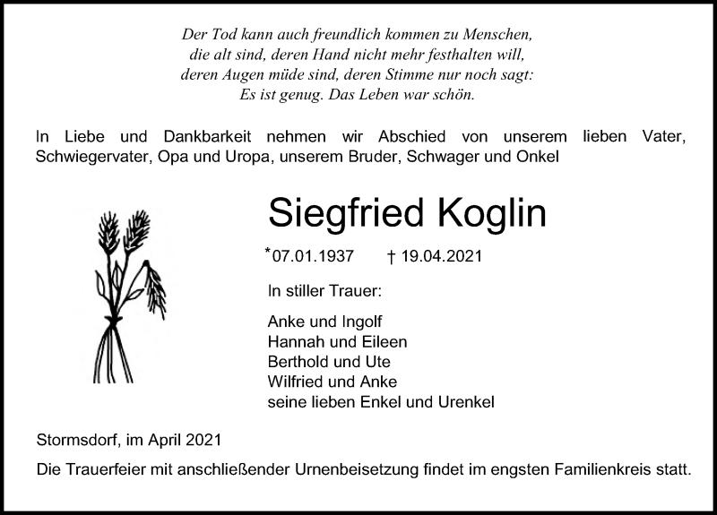 Traueranzeige für Siegfried Koglin vom 24.04.2021 aus Ostsee-Zeitung GmbH