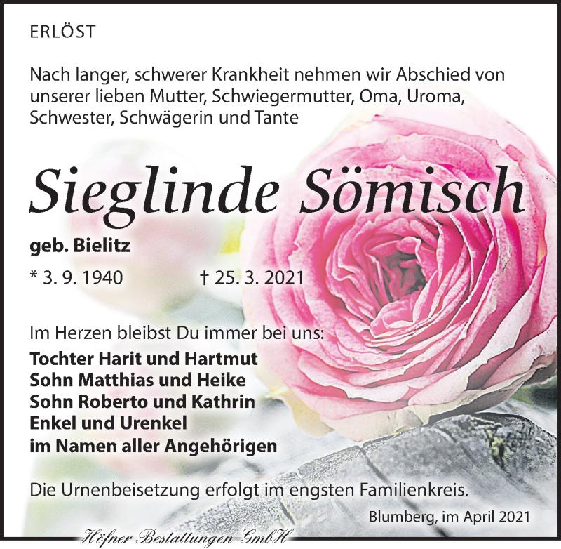 Traueranzeige für Sieglinde Sömisch vom 03.04.2021 aus Torgauer Zeitung