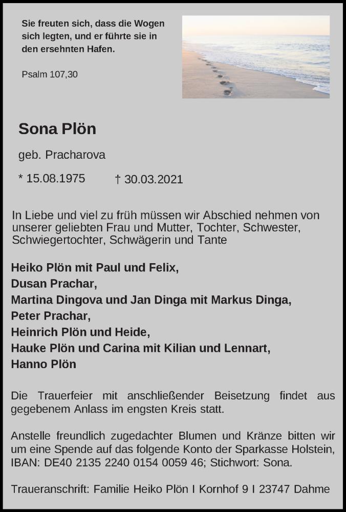 Traueranzeige für Sona Plön vom 08.04.2021 aus Lübecker Nachrichten