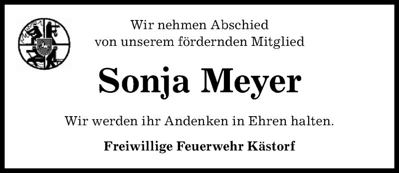 Traueranzeige für Sonja Meyer vom 10.04.2021 aus Aller Zeitung