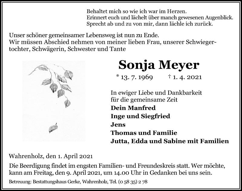 Traueranzeige für Sonja Meyer vom 07.04.2021 aus Aller Zeitung