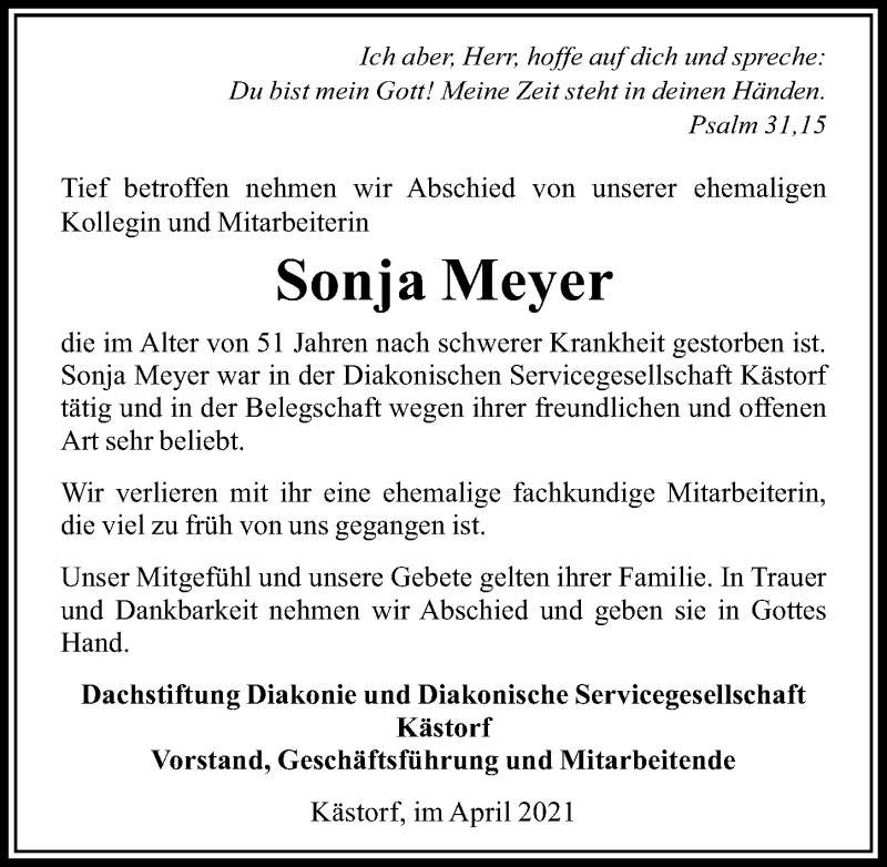 Traueranzeige für Sonja Meyer vom 14.04.2021 aus Aller Zeitung