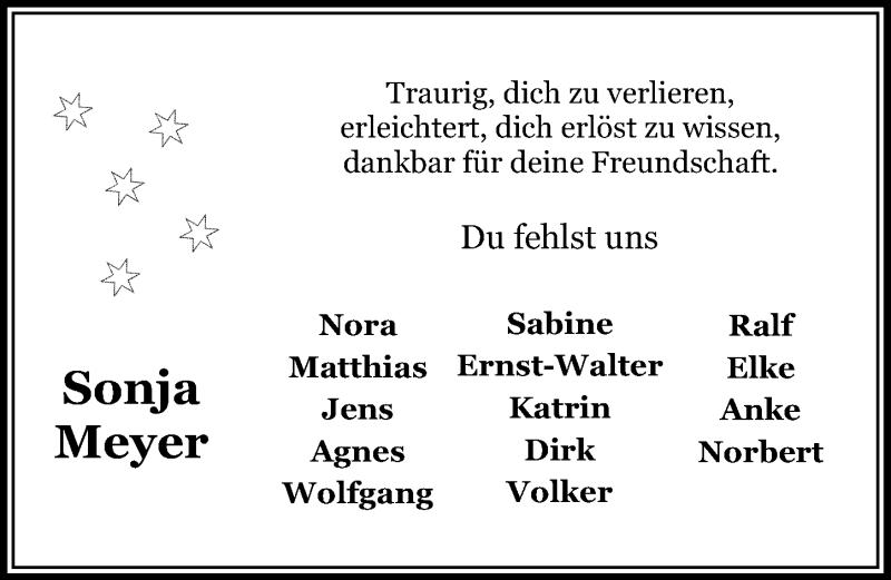 Traueranzeige für Sonja Meyer vom 09.04.2021 aus Aller Zeitung