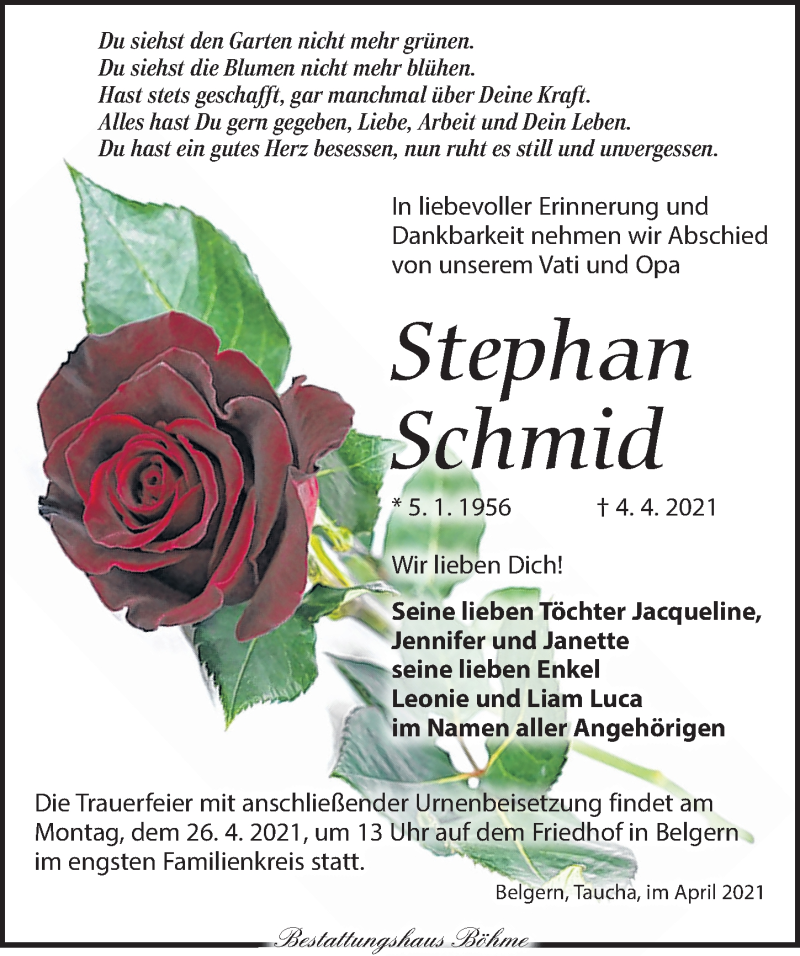 Traueranzeige für Stephan Schmid vom 17.04.2021 aus Torgauer Zeitung