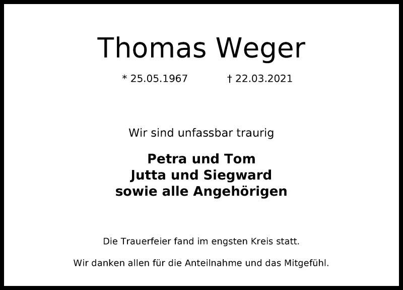 Traueranzeige für Thomas Weger vom 10.04.2021 aus Lübecker Nachrichten
