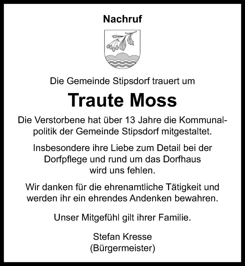 Traueranzeige für Traute Moss vom 09.04.2021 aus Lübecker Nachrichten