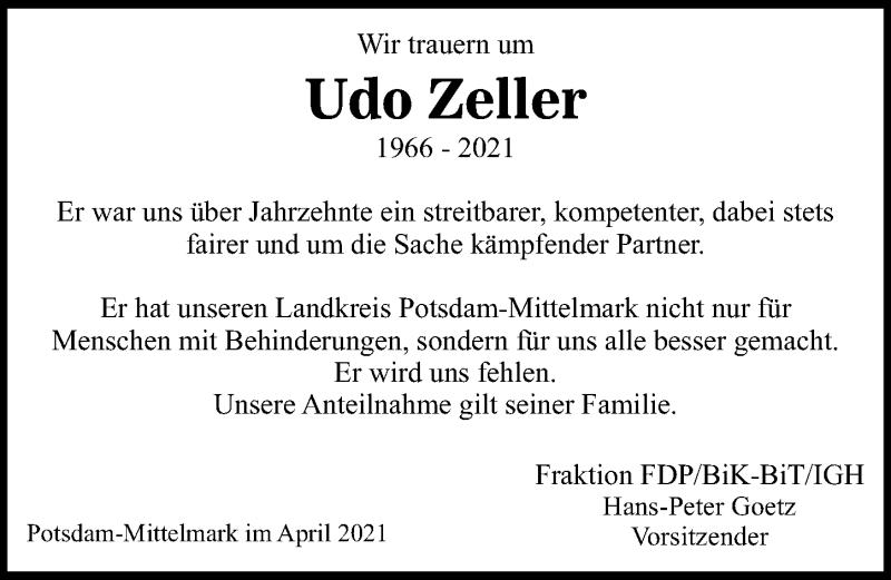 Traueranzeige für Udo Zeller vom 24.04.2021 aus Märkischen Allgemeine Zeitung