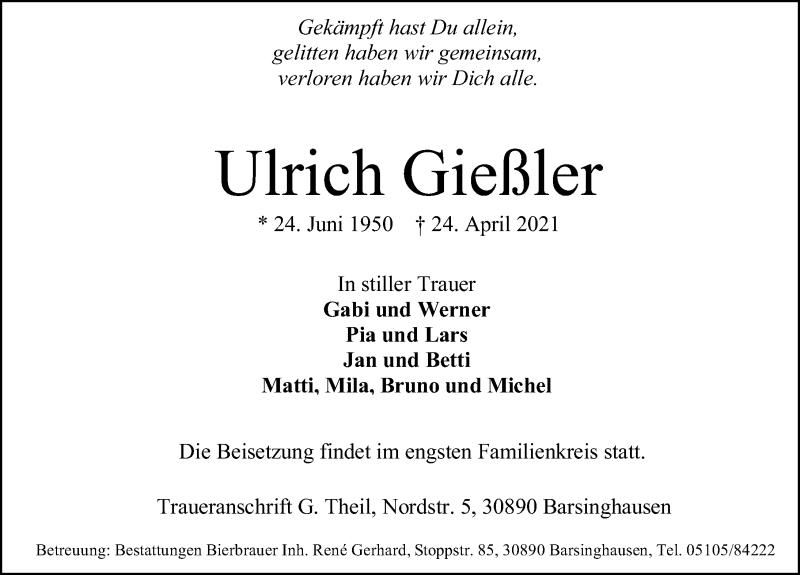 Traueranzeige für Ulrich Gießler vom 30.04.2021 aus Hannoversche Allgemeine Zeitung/Neue Presse