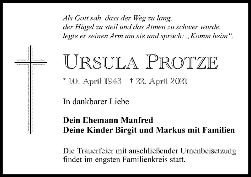 Traueranzeige für Ursula Protze vom 30.04.2021 aus Märkischen Allgemeine Zeitung