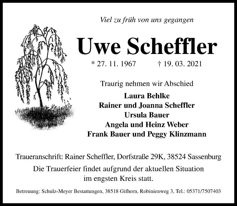 Traueranzeige für Uwe Scheffler vom 13.04.2021 aus Aller Zeitung