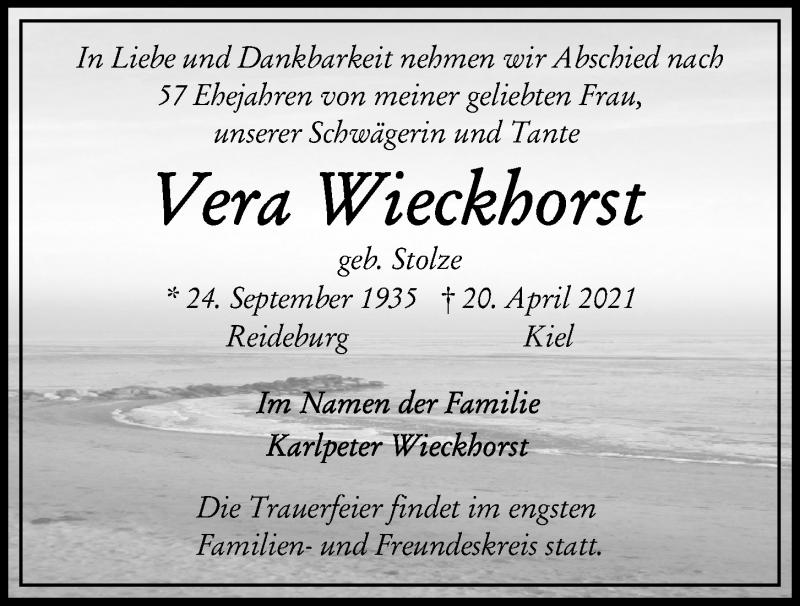 Traueranzeige für Vera Wieckhorst vom 24.04.2021 aus Kieler Nachrichten