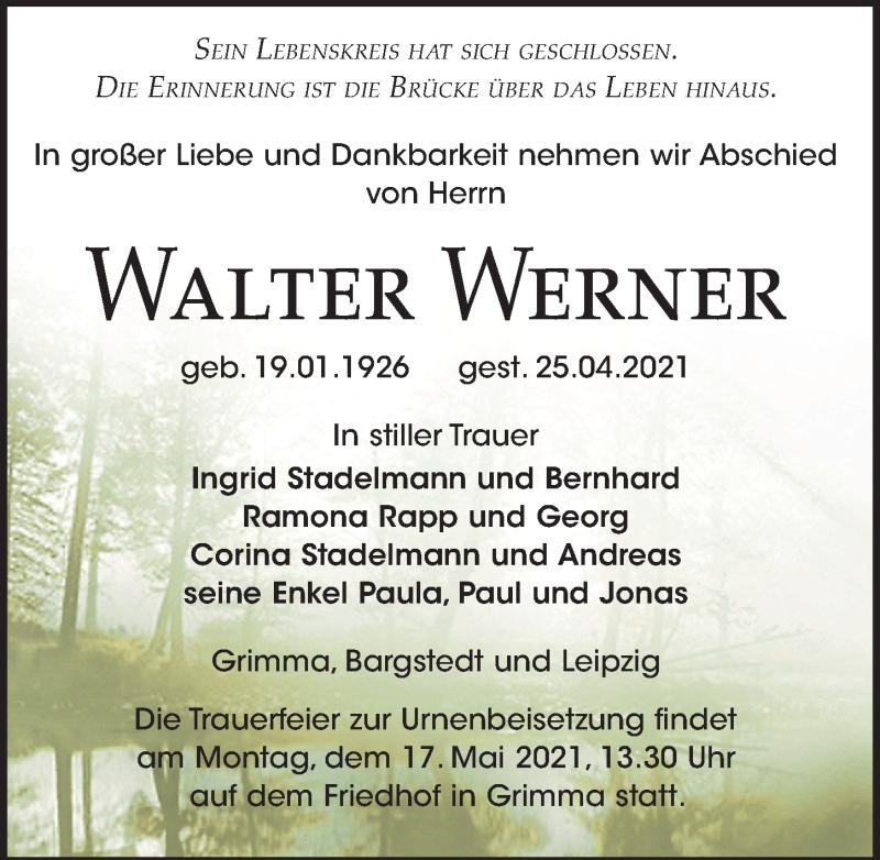 Traueranzeige für Walter Werner vom 30.04.2021 aus Leipziger Volkszeitung
