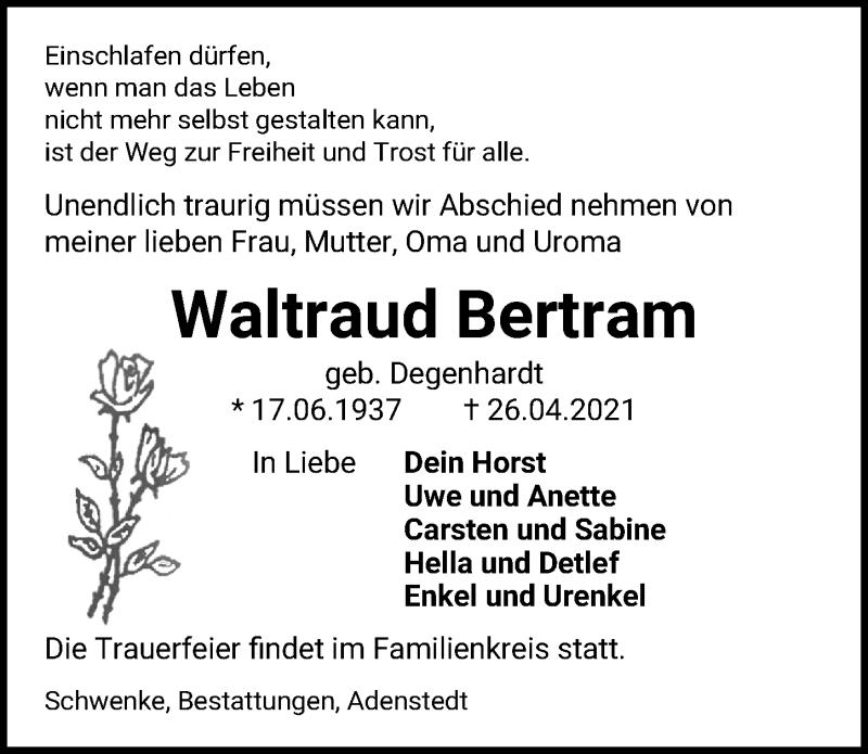 Traueranzeige für Waltraud Bertram vom 30.04.2021 aus Peiner Allgemeine Zeitung