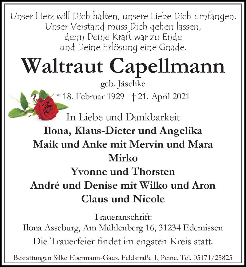 Traueranzeige für Waltraut Capellmann vom 28.04.2021 aus Peiner Allgemeine Zeitung