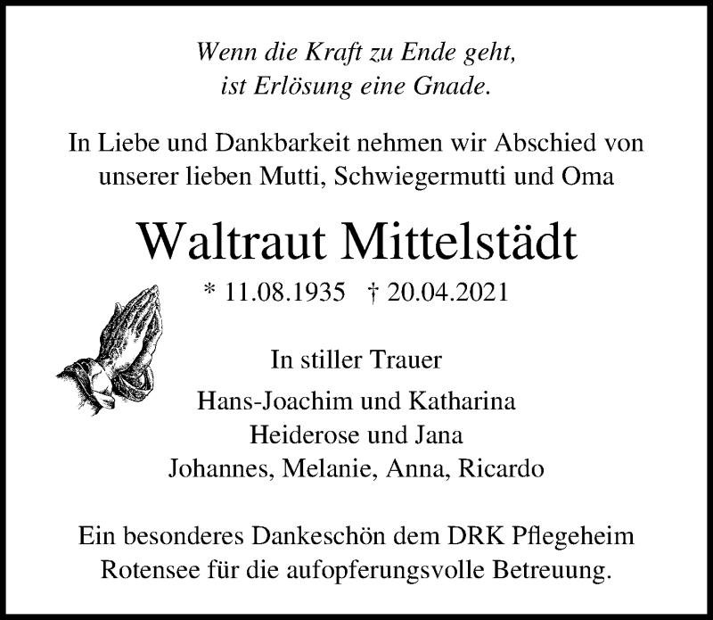Traueranzeige für Waltraut Mittelstädt vom 24.04.2021 aus Ostsee-Zeitung GmbH