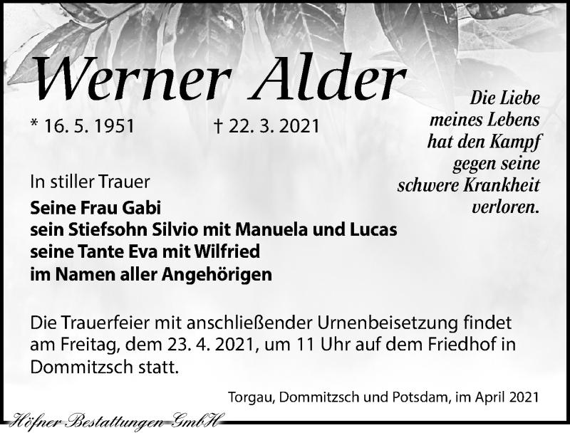 Traueranzeige für Werner Alder vom 03.04.2021 aus Torgauer Zeitung