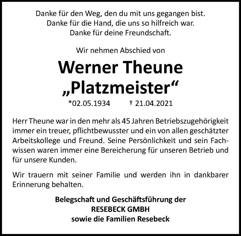 Traueranzeige für Werner Theune vom 30.04.2021 aus Göttinger Tageblatt