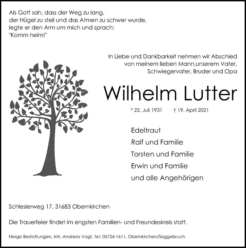 Traueranzeige für Wilhelm Lutter vom 24.04.2021 aus Schaumburger Nachrichten