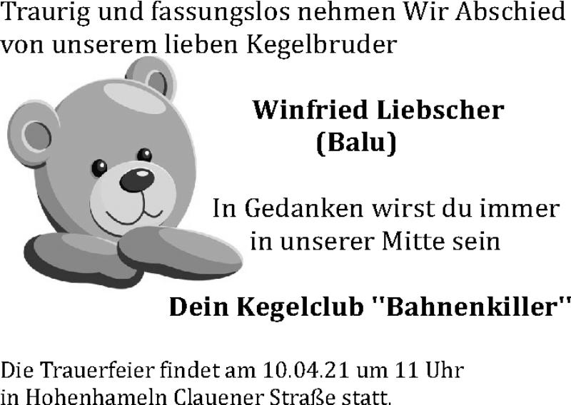 Traueranzeige für Winfried  Liebscher vom 03.04.2021 aus Peiner Allgemeine Zeitung