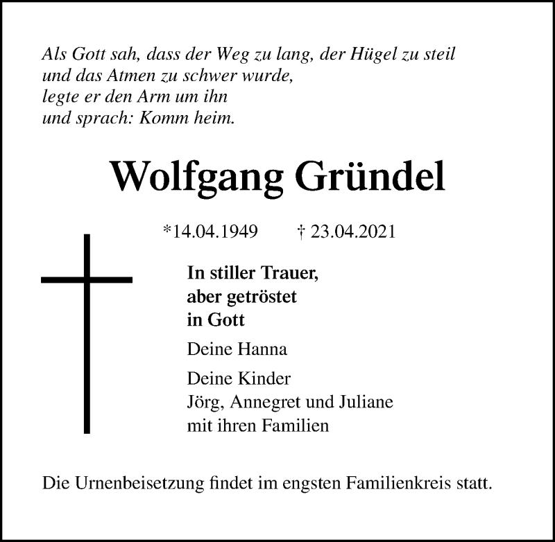 Traueranzeige für Wolfgang Gründel vom 30.04.2021 aus Märkischen Allgemeine Zeitung