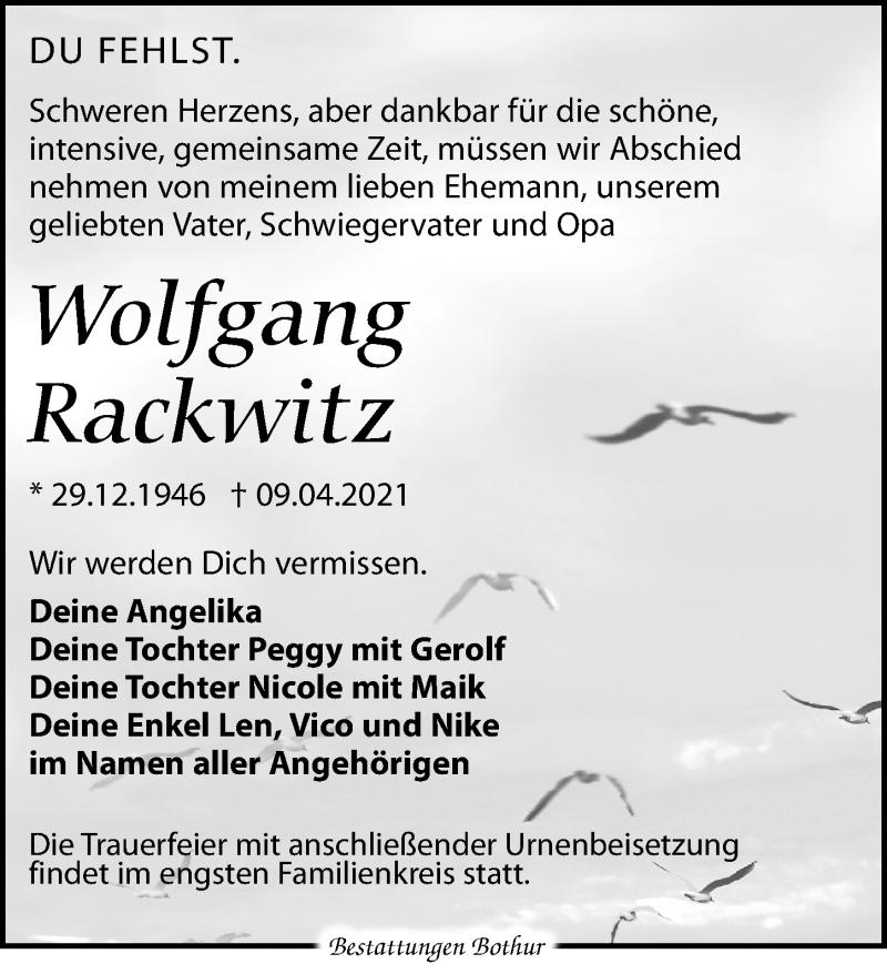 Traueranzeige für Wolfgang Rackwitz vom 17.04.2021 aus Leipziger Volkszeitung