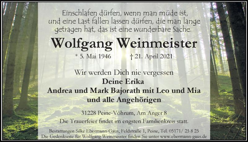 Traueranzeige für Wolfgang Weinmeister vom 24.04.2021 aus Peiner Allgemeine Zeitung