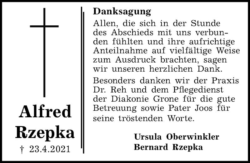 Traueranzeige für Alfred Rzepka vom 08.05.2021 aus Göttinger Tageblatt