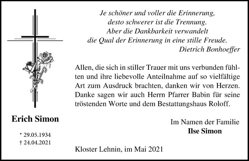 Traueranzeige für Erich Simon vom 08.05.2021 aus Märkischen Allgemeine Zeitung