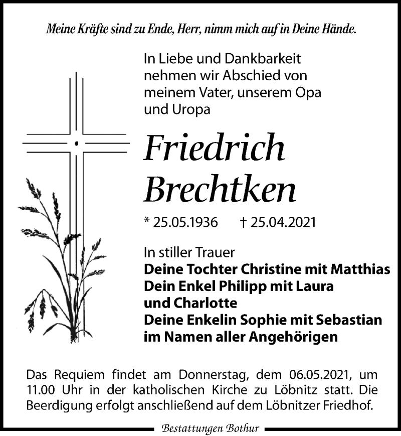 Traueranzeige für Friedrich Brechtken vom 04.05.2021 aus Leipziger Volkszeitung