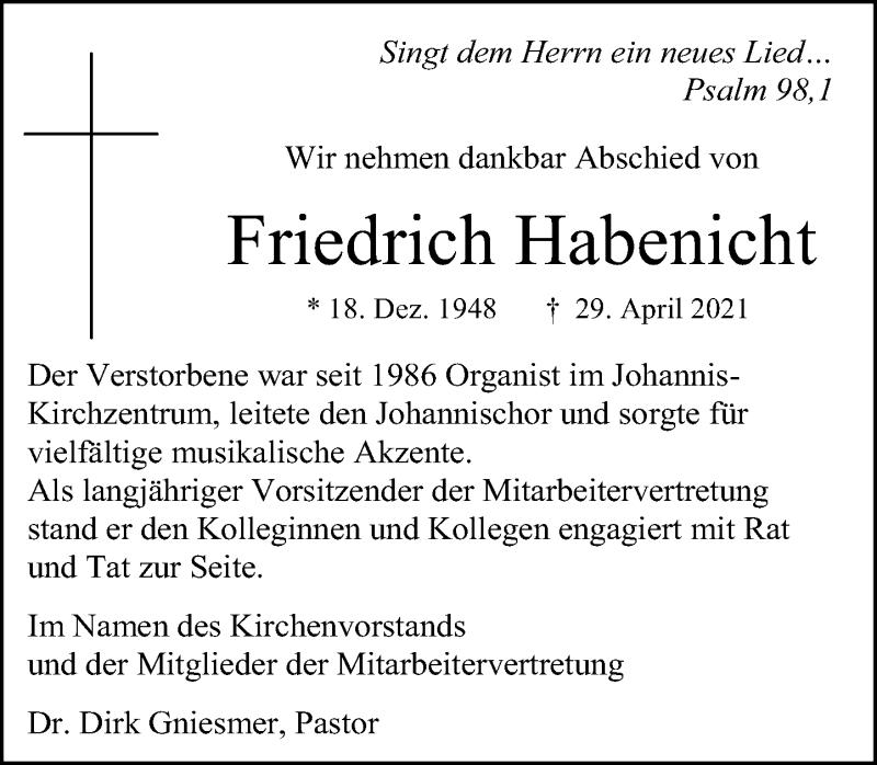 Traueranzeige für Friedrich Habenicht vom 08.05.2021 aus Schaumburger Nachrichten