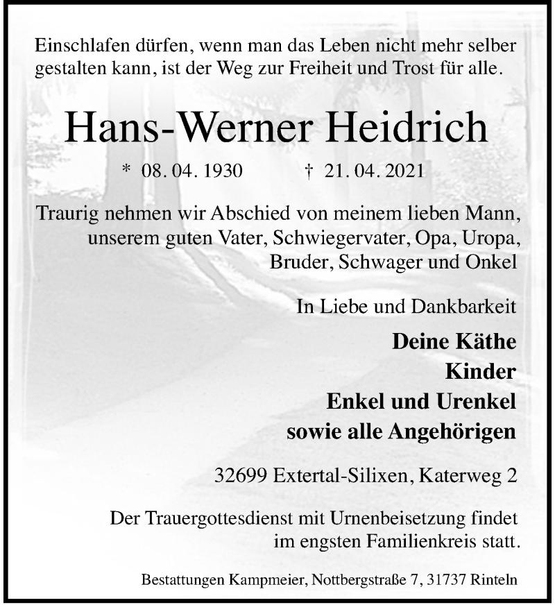 Traueranzeige für Hans-Werner Heidrich vom 03.05.2021 aus Schaumburger Nachrichten
