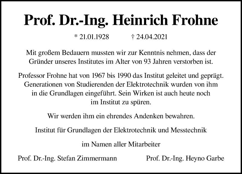 Traueranzeige für Heinrich Frohne vom 08.05.2021 aus Hannoversche Allgemeine Zeitung/Neue Presse