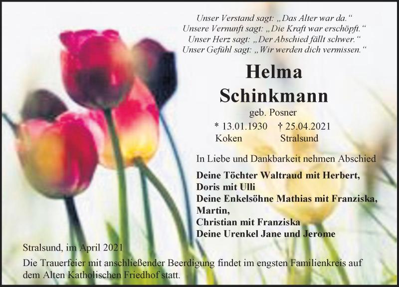 Traueranzeige für Helma Schinkmann vom 30.04.2021 aus Ostsee-Zeitung GmbH